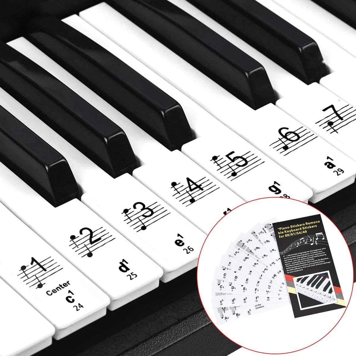 Autocollants Transparent pour notes de piano 54//61//88 touches français