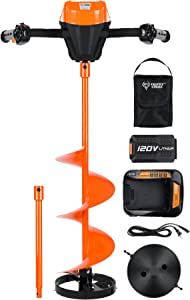 Trophy Strike | 108180 | 120 Volt Electric Ice Auger | Includes 10 Inch Auger, Blades and Cover, 120 Volt Battery, Charger and Bag, 15 Inch Extension