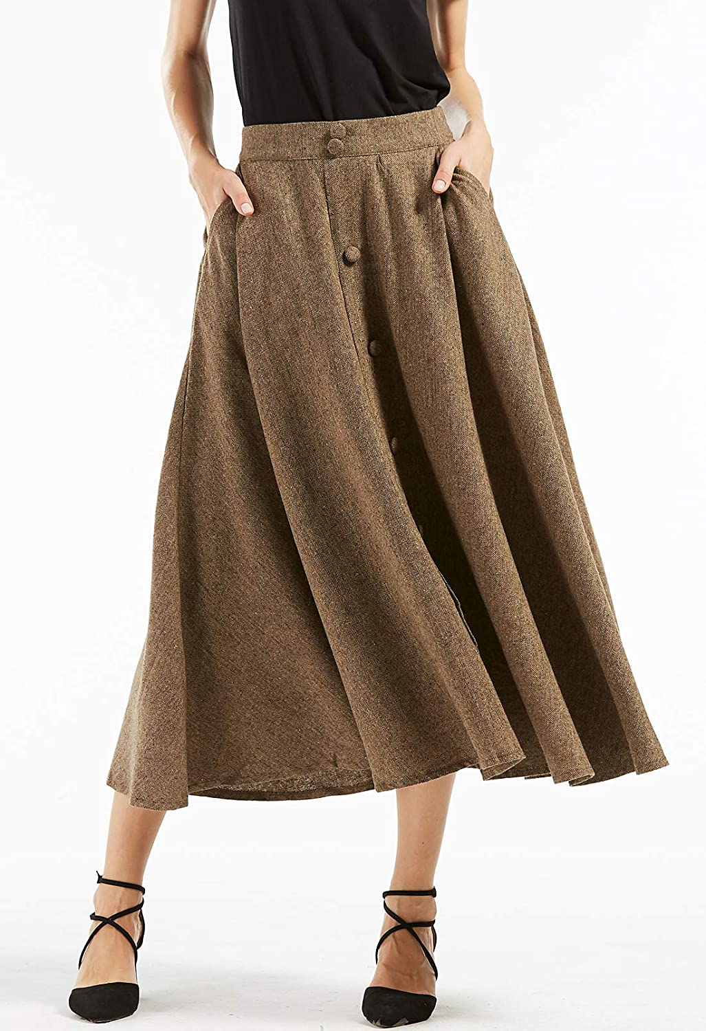 1920s Skirt History chouyatou Womans Vintage High Waist Front Button Long Skirt with Pockets $35.98 AT vintagedancer.com