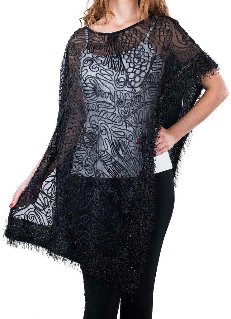 Joseph Ribkoff Black Semi-Sheer Coverup with Fringe Hem Style 164549 - Size 10