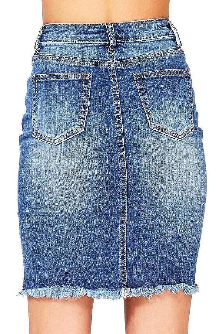 Fensajomon Women Bodycon Ripped Split Cutoff Casual Denim Midi Skirts