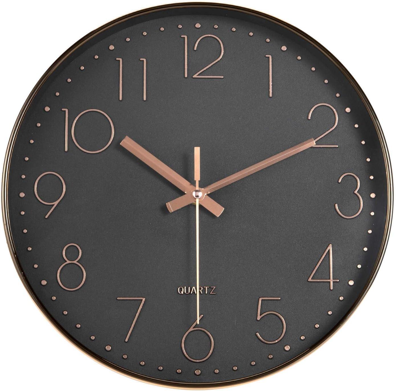 HZDHCLH Horloge Murale silencieuse sans tic-tac 30cm Moderne décoration pour Salon Cuisine Bureau Chambre (Rosegold-Noir)