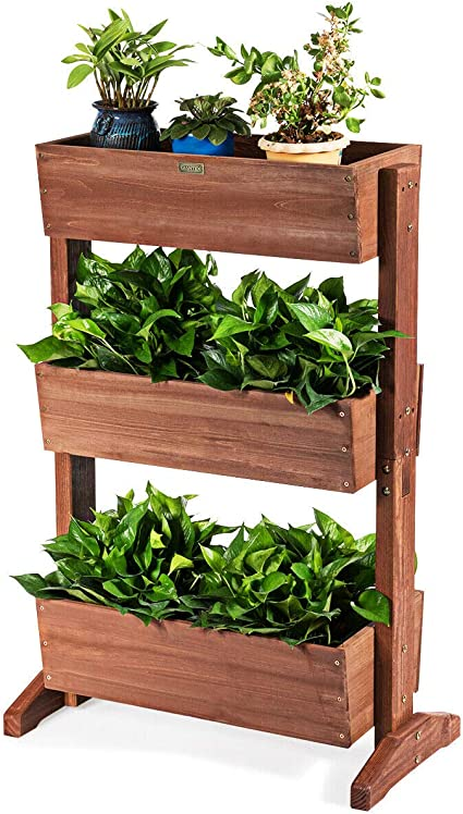 Giantex 3 Tier Raised Garden Bed Vertical Freestanding Wooden Flower Rack With Detachable Ladder And Adjustable Shelf Classification Storage Box Shelf For Indoor Outdoor Flower Stand Nut Brown Garden