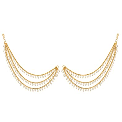 cff045a62a9 Buy The Luxor Gold Plated Pearl Hair Chain for Women - ACC6169 Online at  Low Prices in India | Amazon Jewellery Store - Amazon.in