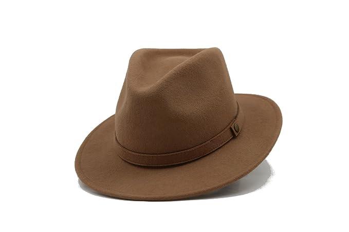 Men s Winter Short Brim Fedora 100% Wool foldable Felt Hat (dark ... a1cde54077ff