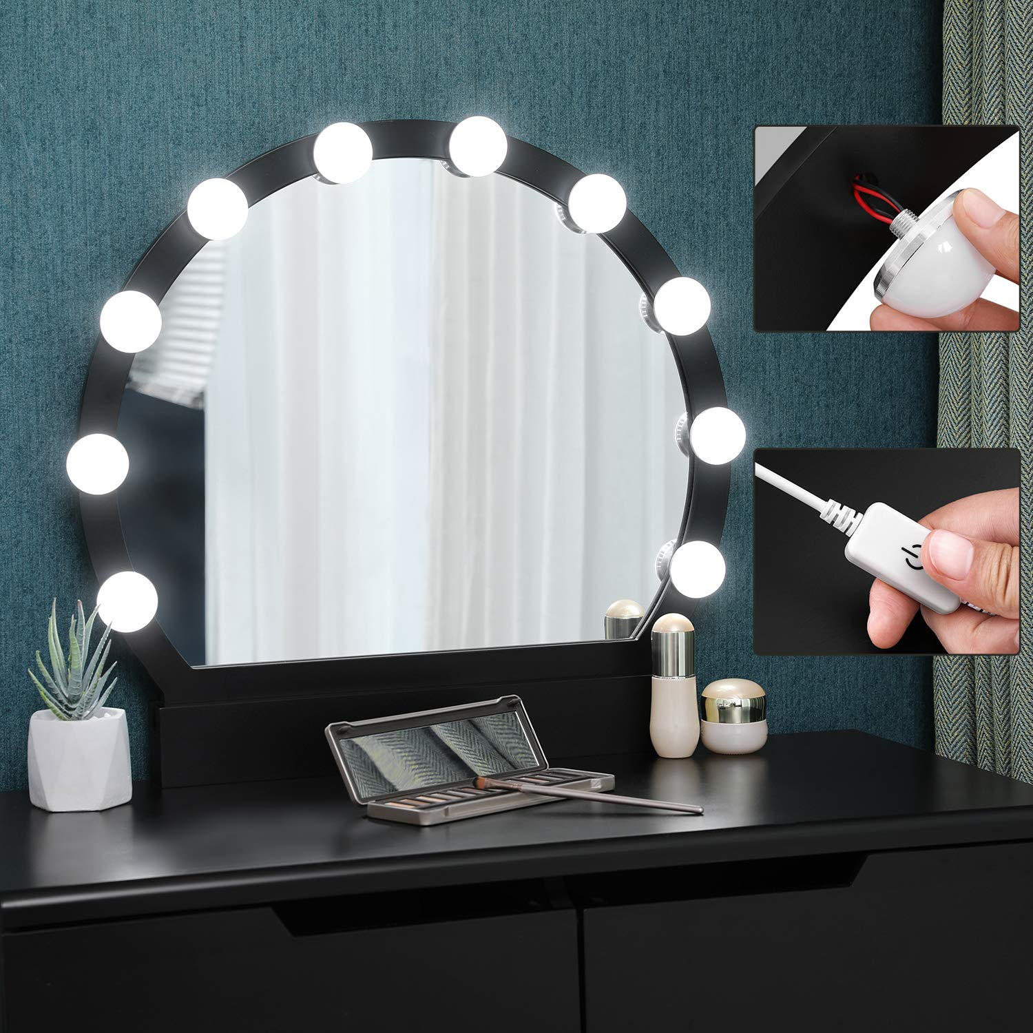 SONGMICS Dressing Table Set with Mirror and Light Bulbs for Makeup Vanity Table with 2 Large Sliding Drawers and Cushioned Stool White RDT11WL