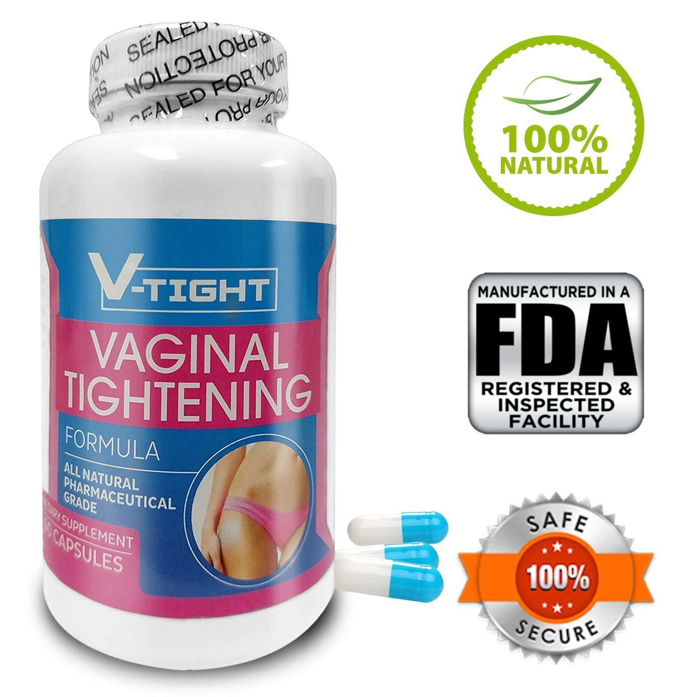 Vagina Tightening Pills V-Tight All Natural Formula (60 Capsules/1-Month Supply) | Pharmaceutical Grade Dietary Vagina Firming Supplement | Women's Sexual Enhancement, Lubrication & Libido