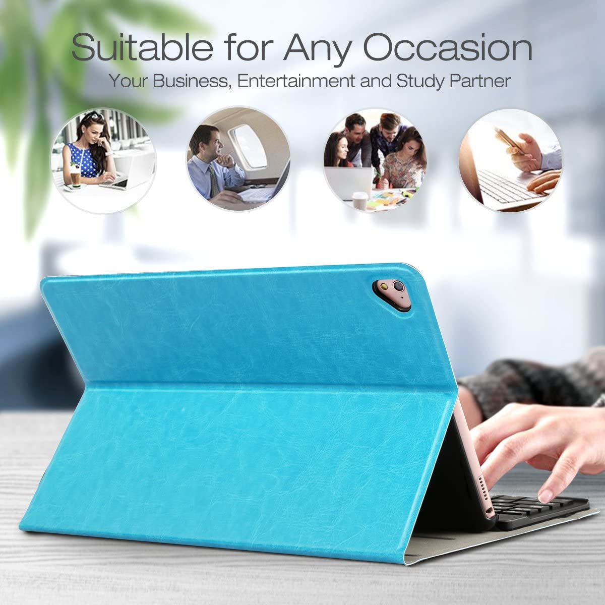 SkyBlue iPad Pro//iPad Air 1 2 Case with Keyboard iPad 9.7 2018//2017 CoastaCloud Detachable Wireless Bluetooth Keyboard Case with Built-in Stand View Angle Adjustable Case Cover