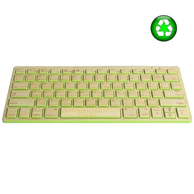 Sidiou Group 2.4GHz Bluetooth Teclado delgado inalámbrico de bambú completo, Teclado de bambú por ordenador portátil, Bluetooth teclado compacto inalámbrico ...