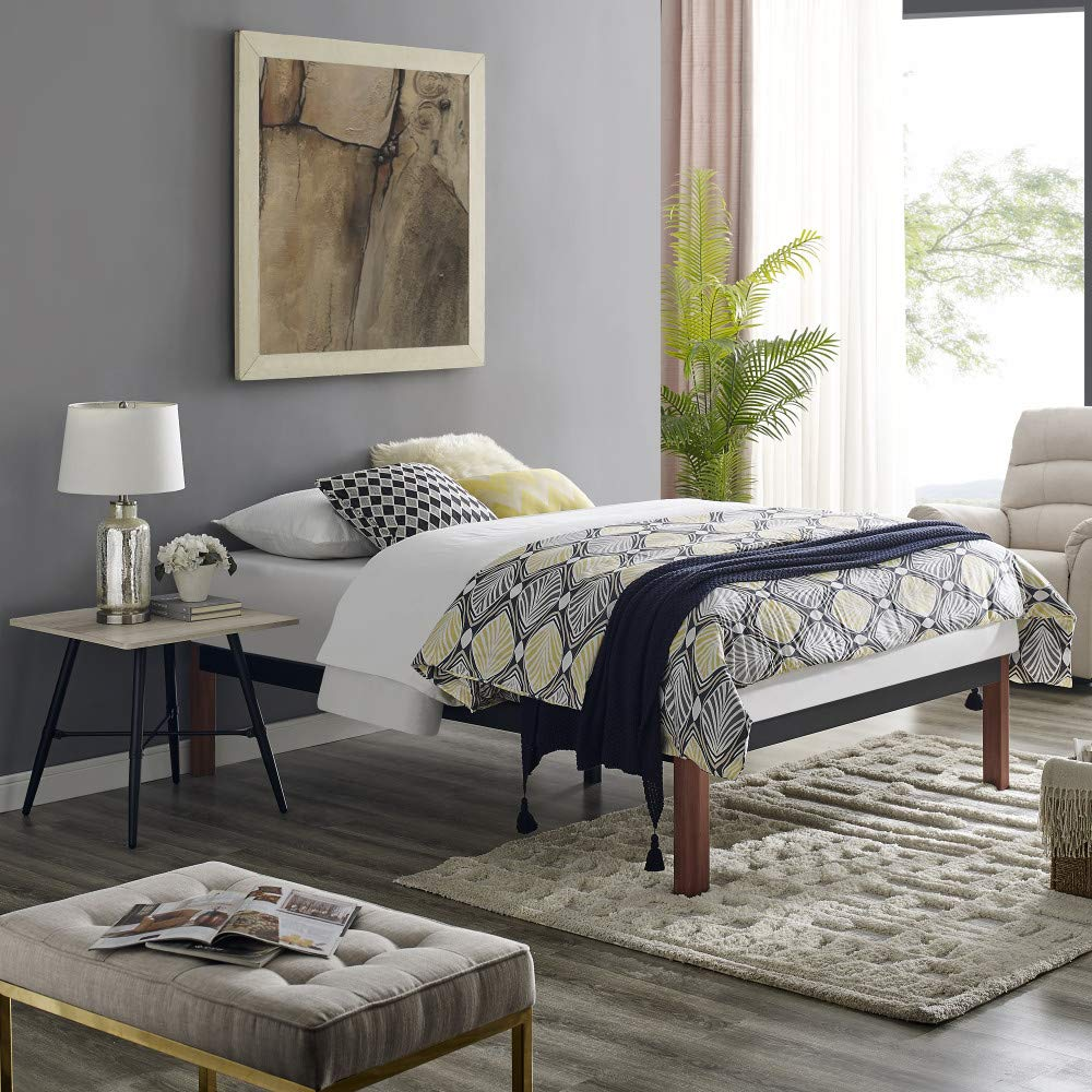 Classic Brands DeCoro Devon Wood Slat and Metal Platform Bed Frame | Mattress Foundation, King