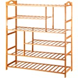 Ollieroo 6 Tier Natural Bamboo Shoe Rack Entryway Shoe Storage Shelf with Extended Length 39.5""
