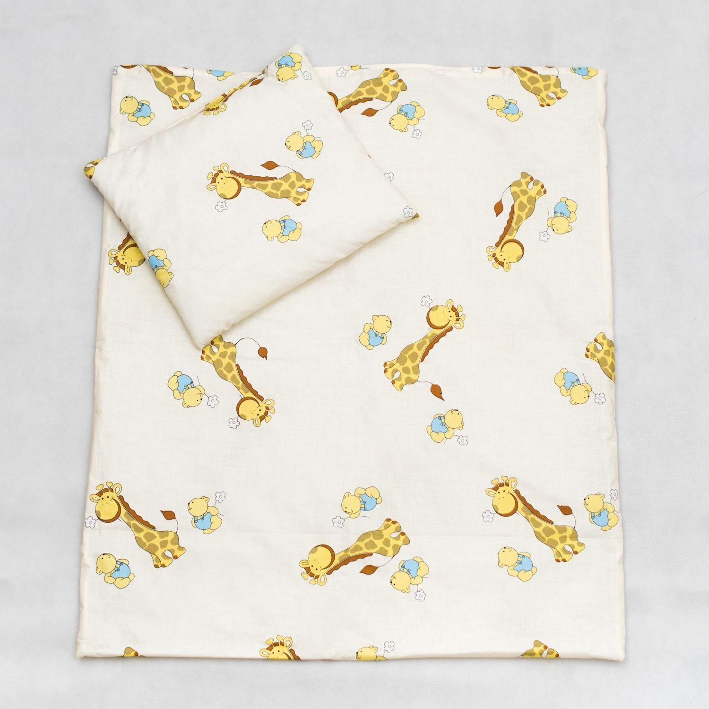2 Piece Duvet Pillow Set For Crib, Cradle, Pram, Filling Baby Bedding Set - GIRAFFE ECRU Baby Comfort