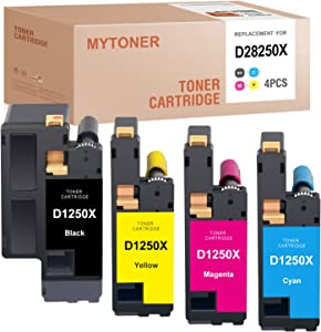 MYTONER Compatible Toner Cartridge Replacement for Dell 1250 810WH C5GC3 XMX5D WM2JC for C1760NW C1765NFW 1250C 1355CNW 1355CN C1765NF 1350CNW (Black Cyan Magenta Yellow, 4 Pack)