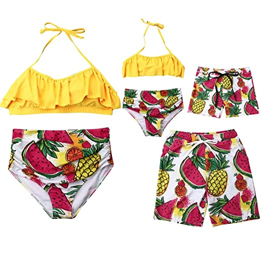 881dfb8715 Amazon.com: AMILIEe Mother and Daughter Swimwear Family Matching Two Pieces  Fruit Watermelon Printed Halter Ruffle Falbala 2019 Swimsuit: Clothing