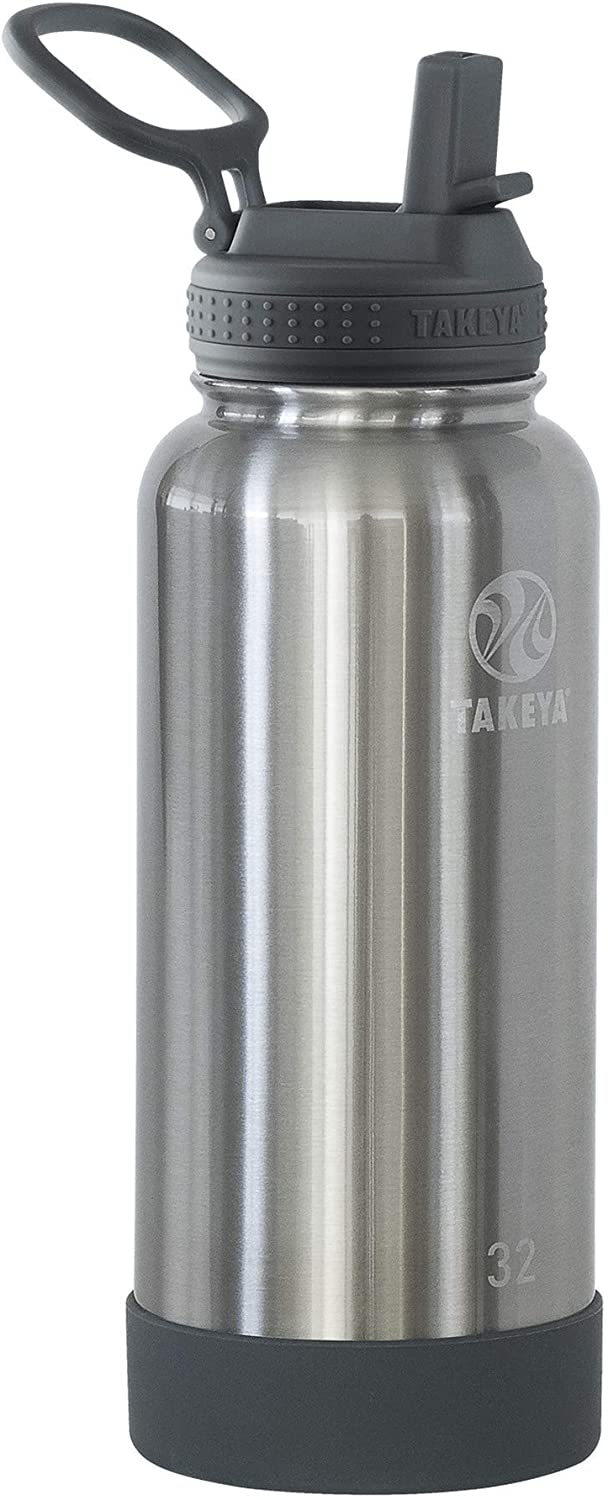 Takeya Actives Insulated Water Bottle w/Straw Lid, 32 Ounces, Stainless Steel