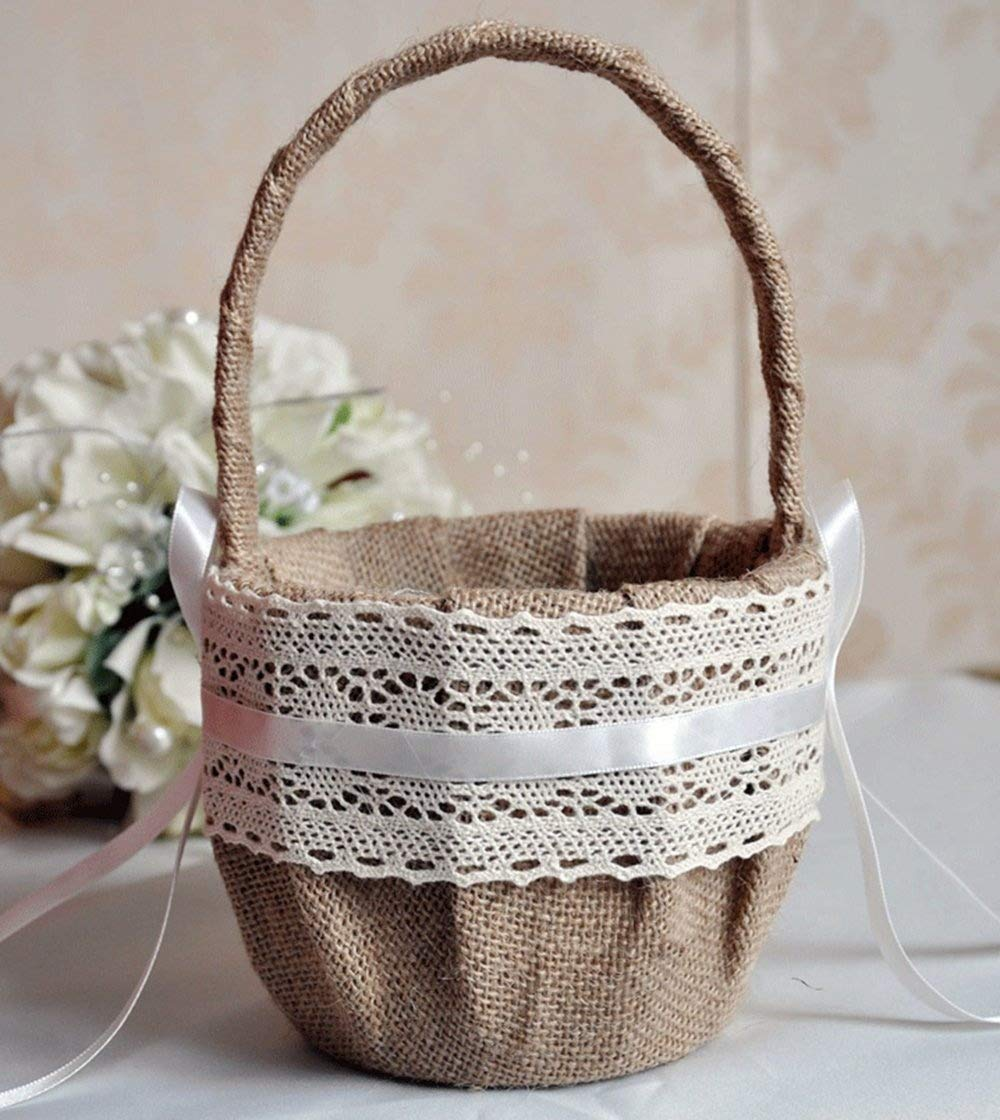 Danyoun Wedding Flower Girl Basket Ceremony Festive Party Love Case, Concise Burlap White Lace Butterfly Ribbon, Wedding Party Decorations Gift Candy Basket Candy Favours Box Wedding Party Gift Marriage Props Bride Wedding Supplies