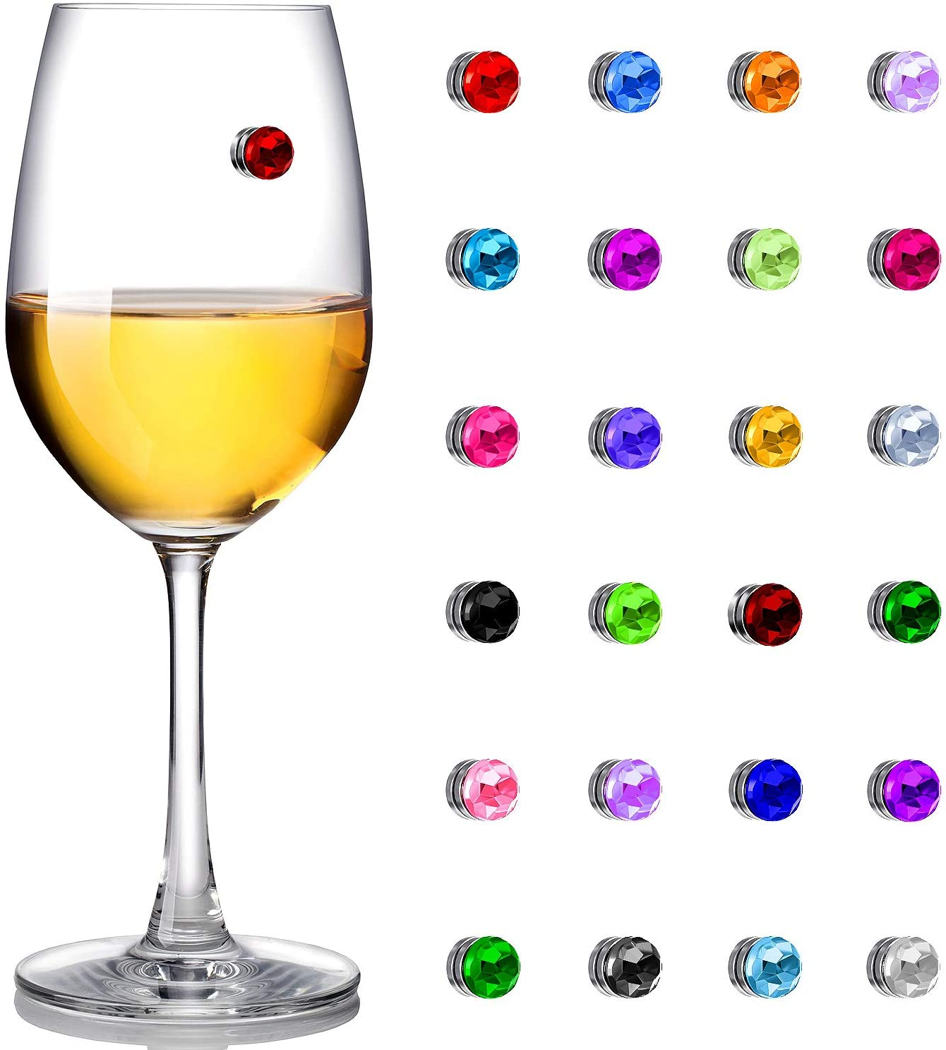 24 Pieces Wine Glass Charms Crystal Magnetic Drink Markers for Wine Glass Champagne Flutes Cocktails Martinis, Colorful