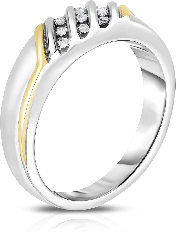 NATALIA DRAKE 1//10 Cttw Genuine Diamond Mens Ring in Sterling Silver