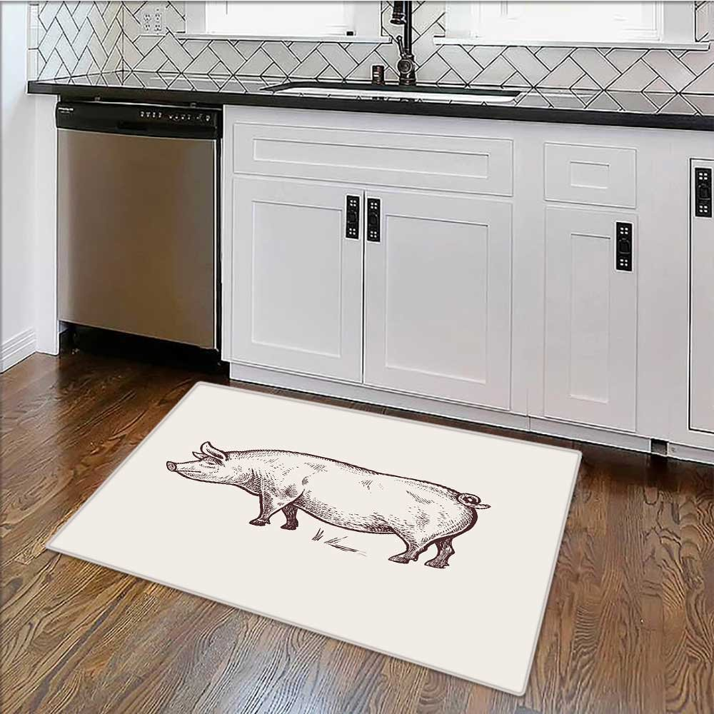 Dual Surface Non Slip Rug Pad pig serie farm animals graphics draw sketch vintage engrav style for Living Room Dining Room Family W39'' x H20''