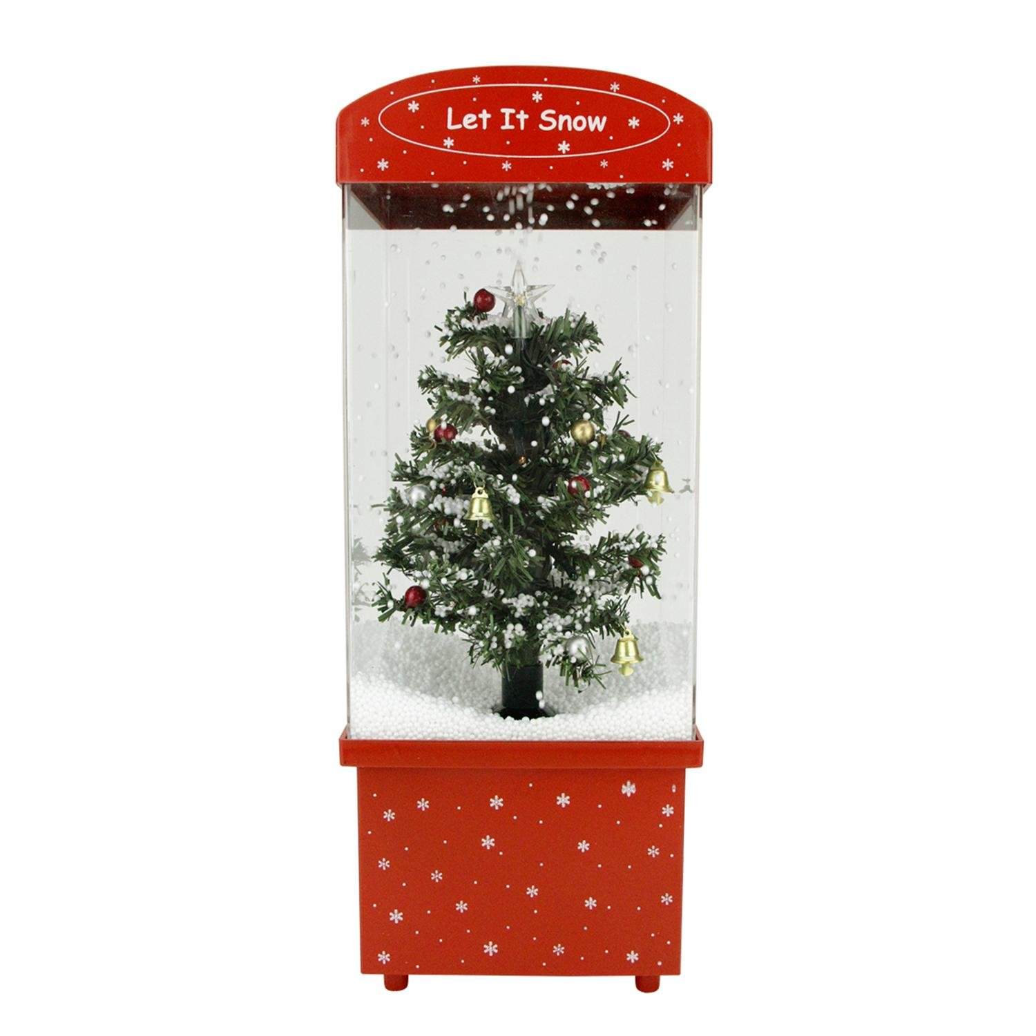 Northlight 16.25'' Lighted Musical Let it Snow Christmas Tree Snow Globe Glitterdome
