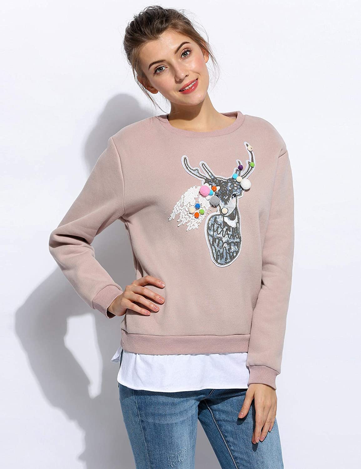 Kikole Women Casual O-Neck Long Sleeve Animal Printing Thicken Pullover Sweatshirt Fashion Hoodies