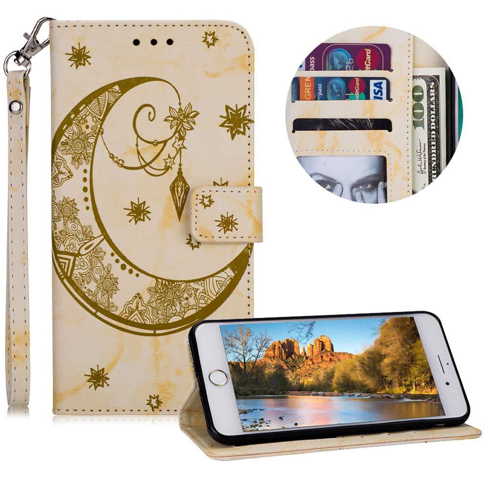 Gü rtel Brieftasche fü r iPhone 8, Handyhü lle fü r iPhone 7, Moiky Ziemlich Schö ne Blau Mond Sterne Blume Geprä gt Klappbar Kartenfä cher Stoß dä mpfende Weich Silikon Ledertasche mit Stand iPhone 7/iPhone 8