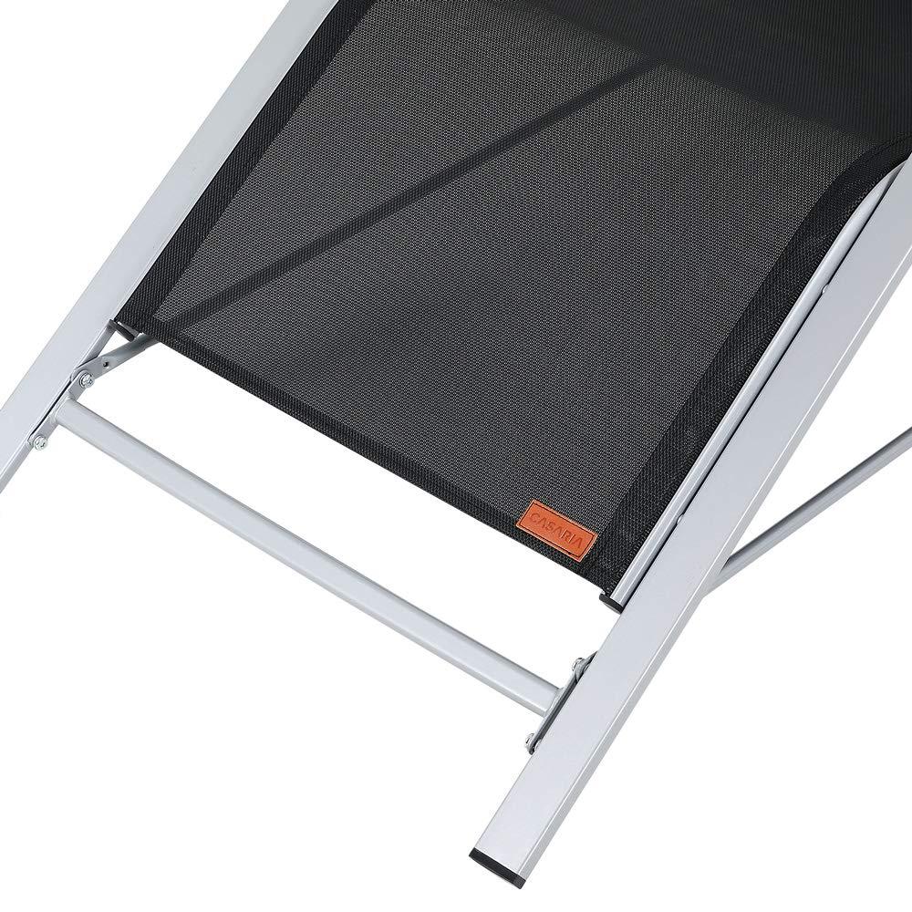 Casaria Lounge set Siena con 2 tumbonas y una mesita de vidrio negro 190 x 62 x 70 cm resistente para exterior jard/ín