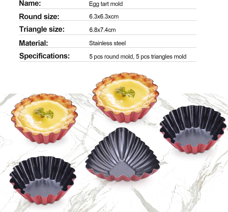 HIMETSUYA Torteletts 10 St/ück T/örtchenformen Antihaft-Beschichtung Edelstahl Egg Tart Mold Muffins Mini Pudding Backform Cupcake Kuchenform
