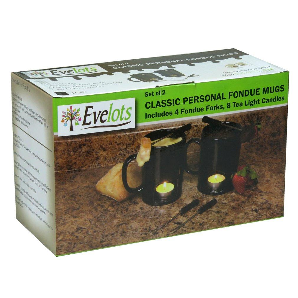 Chocolate /& Cheese Evelots Set of 2 Classic Personal Fondue Mugs Black