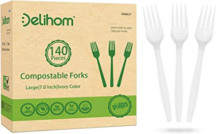 Delihom Compostable Utensils 140 Large Disposable Utensils 7 In Eco Friendly Durable And Heat Resistant Plastic Utensils Alternative For Wedding Barbecue And Camping Amazon Ca Health Personal Care