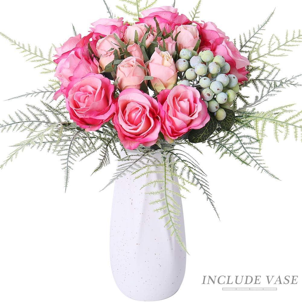 FENGRUIL Artificial Flowers with Ceramics Vase, Silk Rose Flowers Arrangements Bouquet for Desktop Floor Centerpiece Bridal Wedding Decoration (Red)
