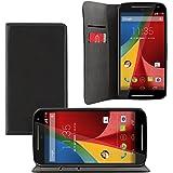 Motorola Moto G (2. Gen.) Bookstyle - iProtect pochette en cuir synthétiquee en étui de protection avec une fermeture magnétique intégré noir