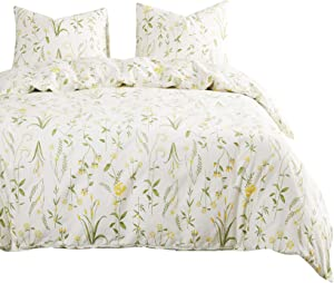 Wake In Cloud - Botanical Comforter Set, 100% Cotton Fabric with Soft Microfiber Fill Bedding, Yellow Flowers and Green Leaves Floral Garden Pattern Printed on Ivory (3pcs, King Size)
