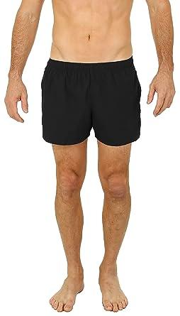 e74076151a UZZI Men's Basic Swim Shorts Swimwear Trunks (Small, Black)