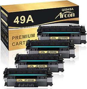 Arcon Compatible Toner Cartridge Replacement for HP 49A Q5949A 49X Q5949X 53A Q7553A HP Laserjet 1320 1320n P2015 P2015dn P2014 3390 1160 P2015d 1320tn M2727nf Toner Cartridge Ink (Black, 4-Pack)