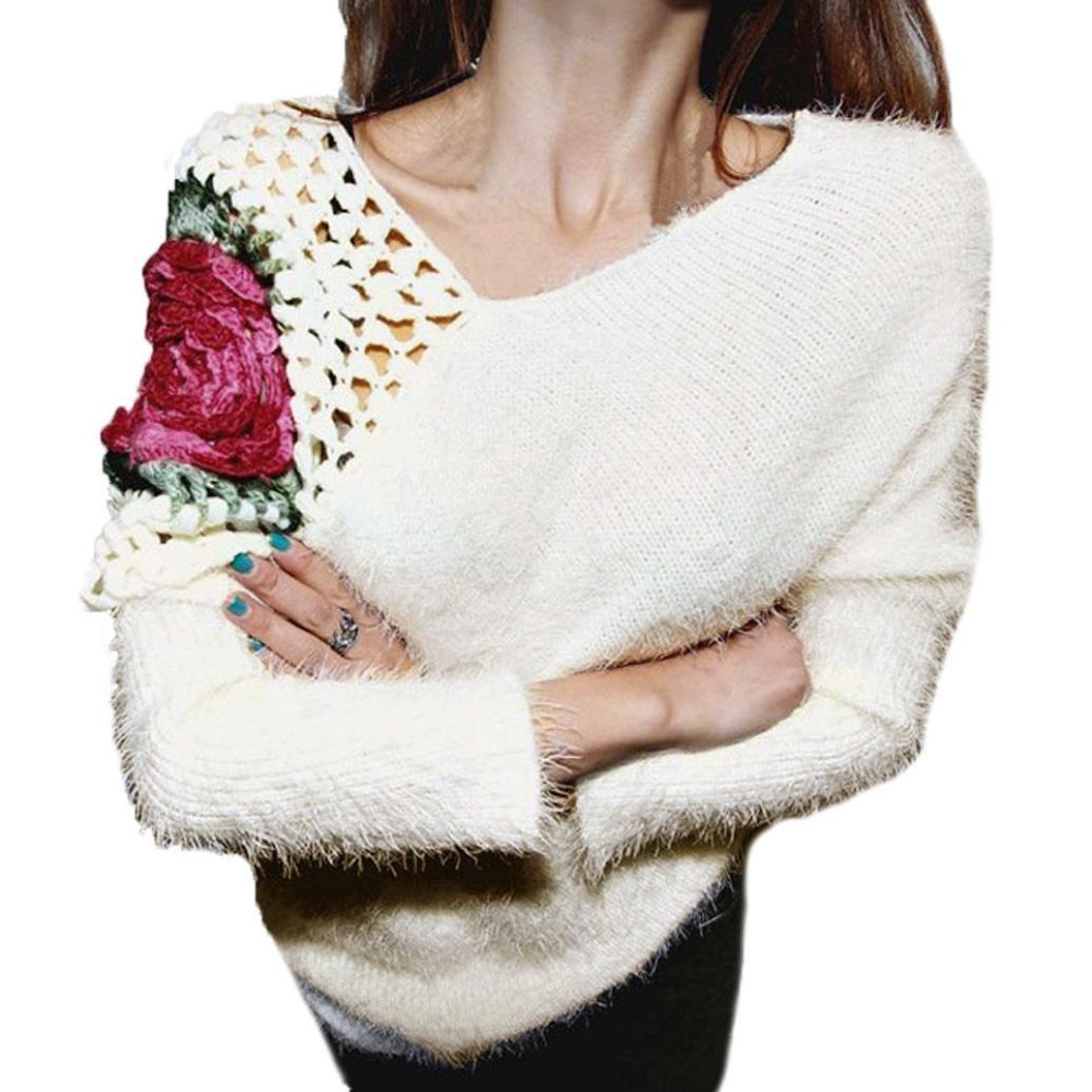 New half price!Women Autumn Winter Pullovers Roses Hook Flowers Hollow Sweater Tops Blouse Muranba (Beige) by Muranba