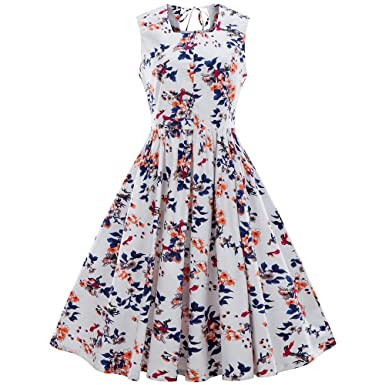 a02dad8cbaf RoseGal Plus Size Floral A line Midi Flare Vintage Dress