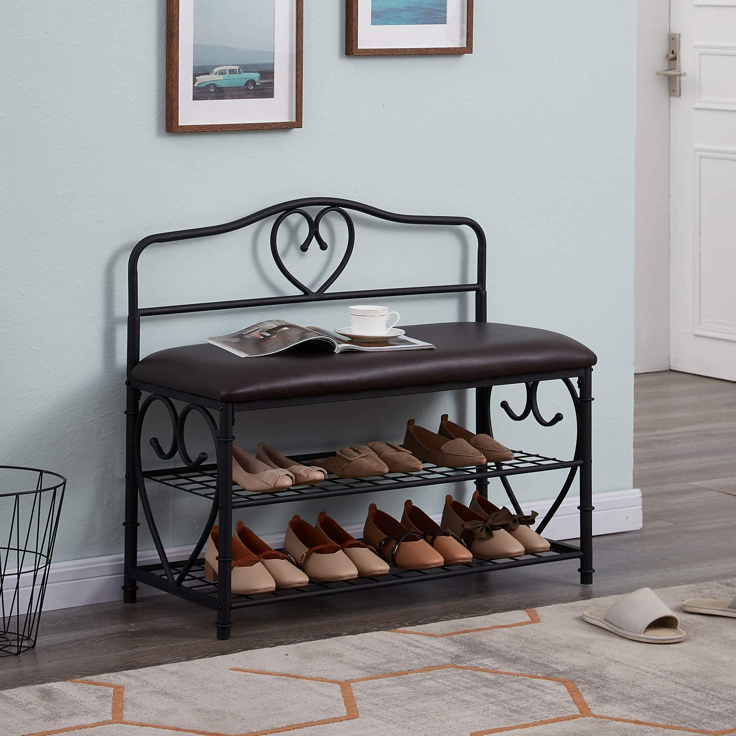 Homissue 3 Tier Entryway Shoe Rack Bench with Mesh Shelf, Industrial Padded Storage Bench for Living Room