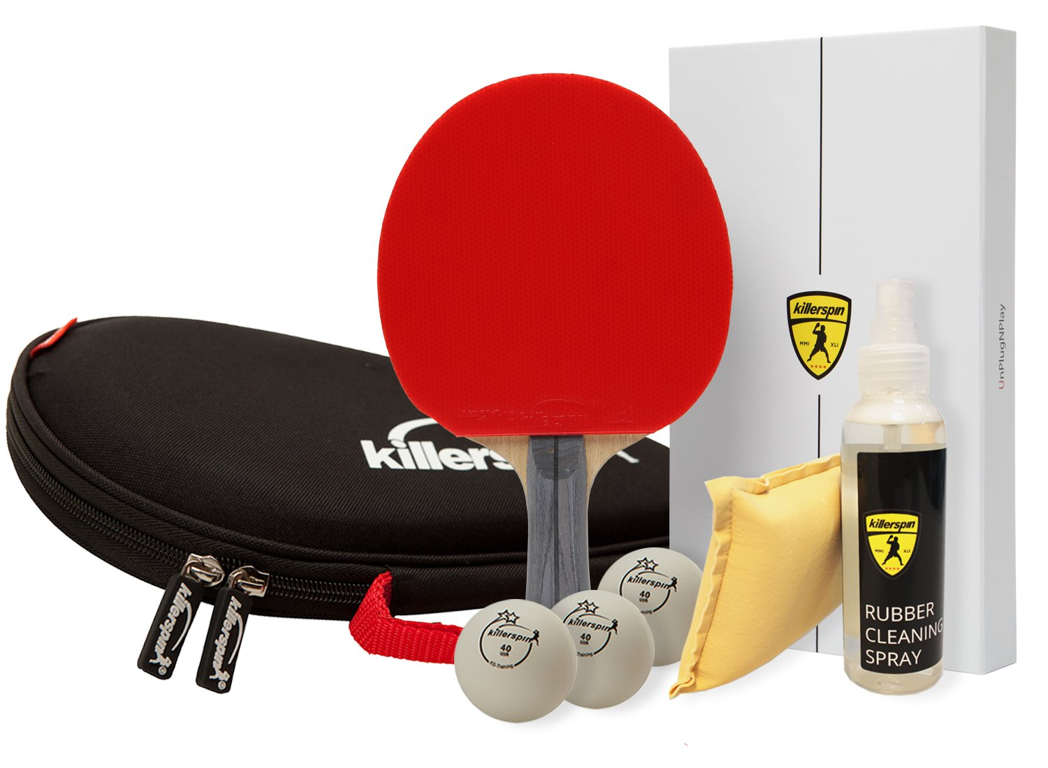 Killerspin Table Tennis All in One Bundle: Ping Pong Paddle, Bag, Balls & Rubber Cleaning Spray
