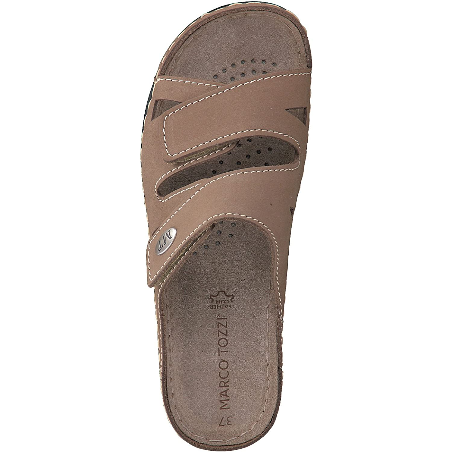 New Womens Marco Tozzi Brown Tan 27512 Leather Sandals Slides