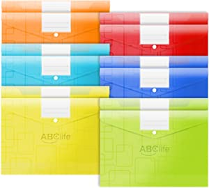ABClife Plastic Envelopes Poly Envelopes 12 Pack,Document Folder US Letter A4 Size with Label Pocket&Snap Closure,Filing Envelopes Organizer with Maze Pattern for School/Home/Office, Assorted Color