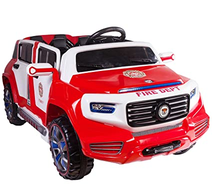 Amazon Com 4 Door Ride On Two Seater Fire Truck Electric Toy Car