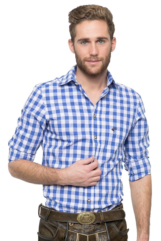 OS-Trachten Herren Trachtenhemd Nico blau/weiß H040062