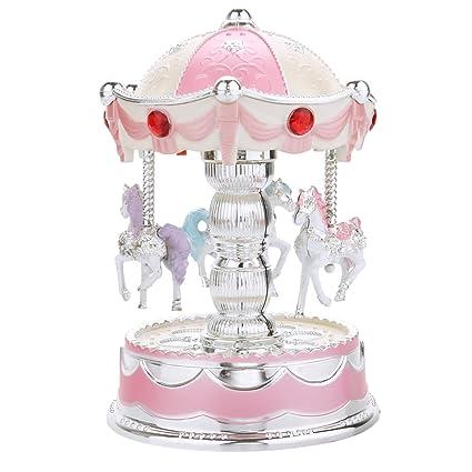 Vintage Caballo Carrusel caja de música juguete luz diseño boda cumpleaños Musical de Navidad regalos