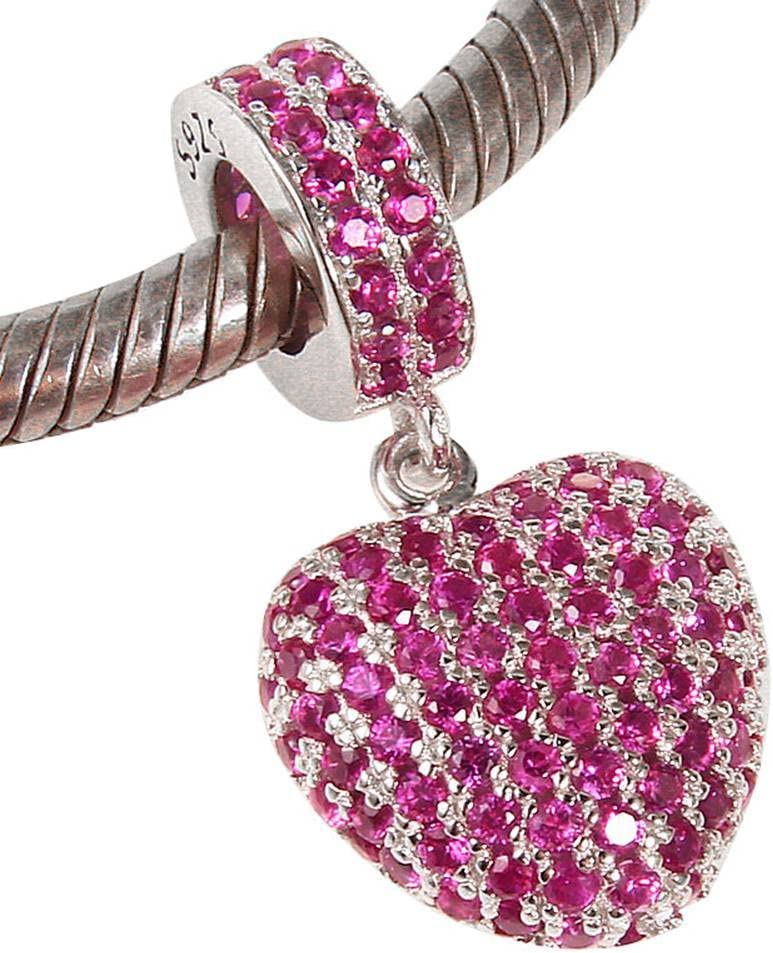 Choruslove Love Heart Fuchsia Pave Cubic Zircon Charm 925 Sterling Silver Pendant Bead for Compatible European Valentines Bracelet or Necklace