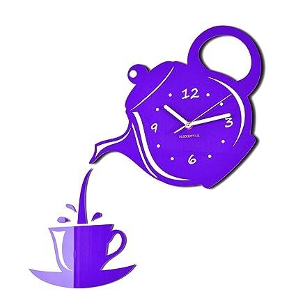 Orologio da parete da cucina Tazza e Bricco viola grigia silenzioso ...