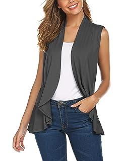 Zeagoo Womens Open Front Cardigan Long Sleeve Draped Ruffles Casual Sweaters
