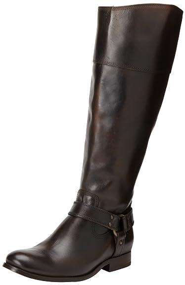 FRYE Women's Melissa Harness InSide-Zip Boot, Dark Brown Vintage Brush Off  Wide Calf