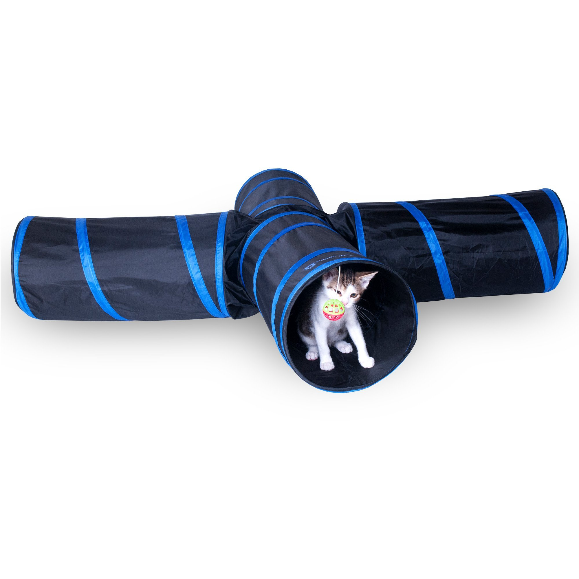 Purrfect Feline New Cat tunnel Design, Collapsible 4-way Cat Tunnel Toy with Crinkle (Medium, Dark Blue) by Purrfect Feline (Image #1)