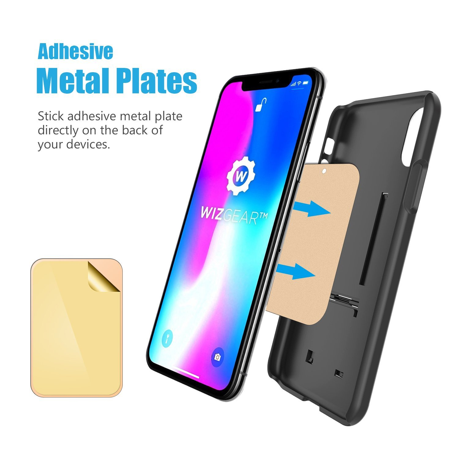 Compatible with Magnetic mounts 4 Pack X4 Pack 2 Rectangle and 2 Round Mount Metal Plate with Adhesive for Magnetic Cradle-Less Mount